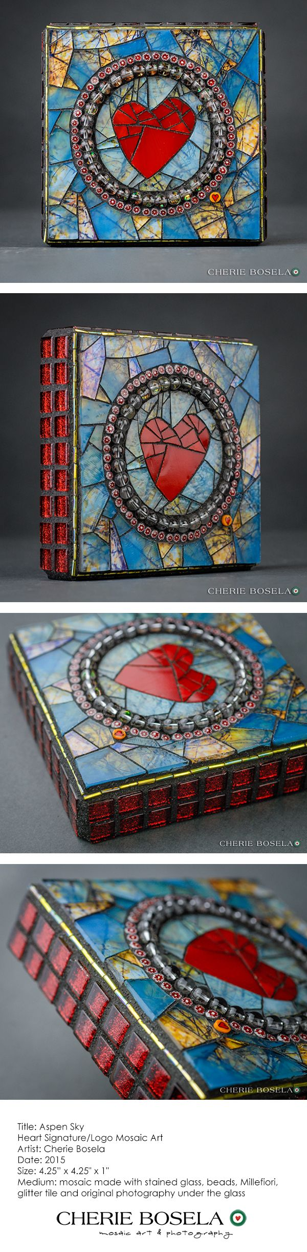 Aspen Sky - Heart Signature/Logo Mosaic Art by Cherie Bosela