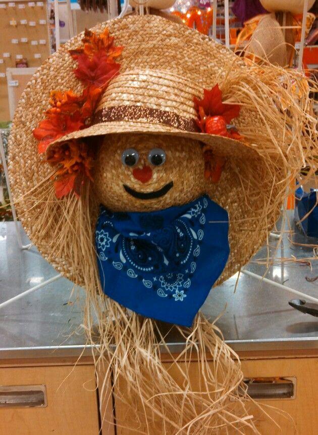 Straw hat scarecrow wreath