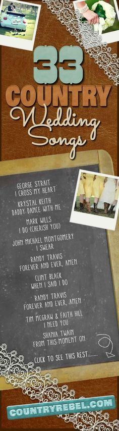 Top 33 Country Wedding Songs for a Perfect Playlist (VIDEO)Brandy Moe