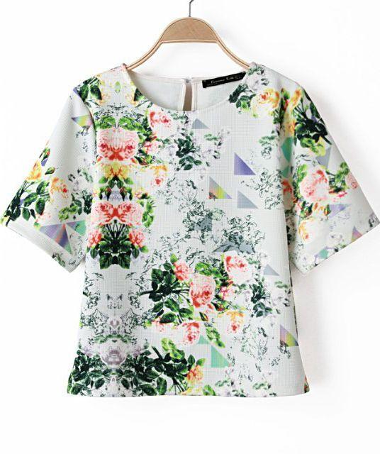 Green Short Sleeve Floral Loose T-Shirt - Sheinside.com