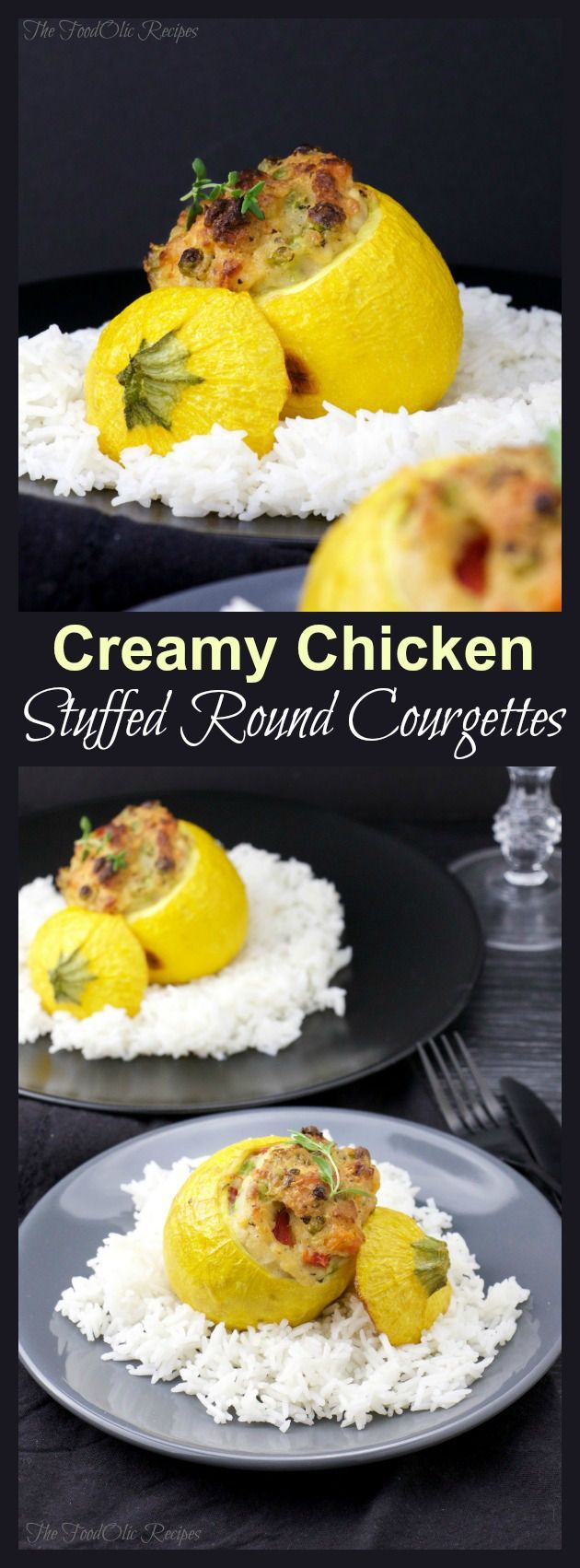 Creamy Chicken Stuffed Round Courgettes is a light meal with a whole lot of veggies like sweet peas, red pepper and carrot for a fun, creamy and colorful bite. #courgette #chicken #bechamel