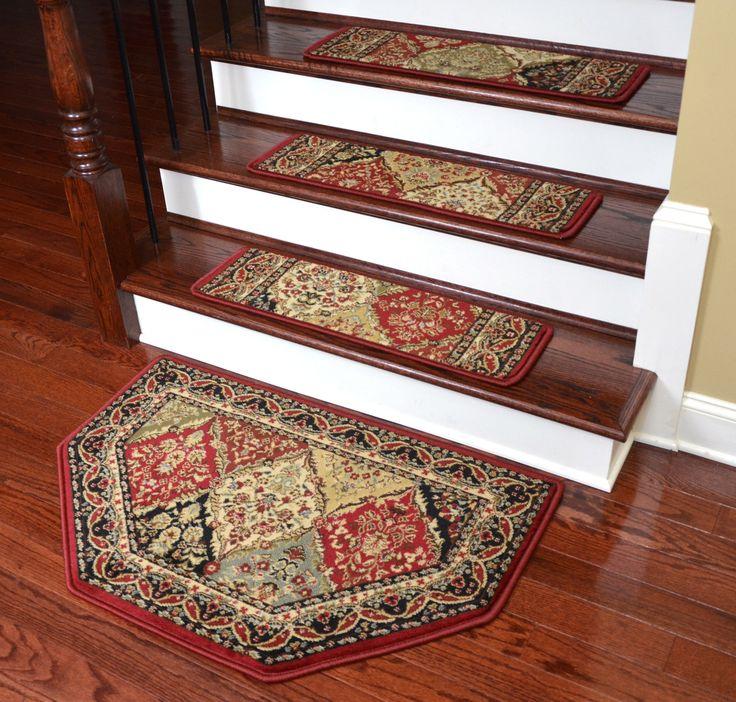 "Dean Tape Free Pet Friendly Non-skid Stair Gripper Ultra Premium Carpet Stair Treads - Panel Kerman Claret 31"" W (Set of 15) Plus a Matching Landing Hearth Mat 27"" x 39"" (2x3) - Dean Stair Treads"