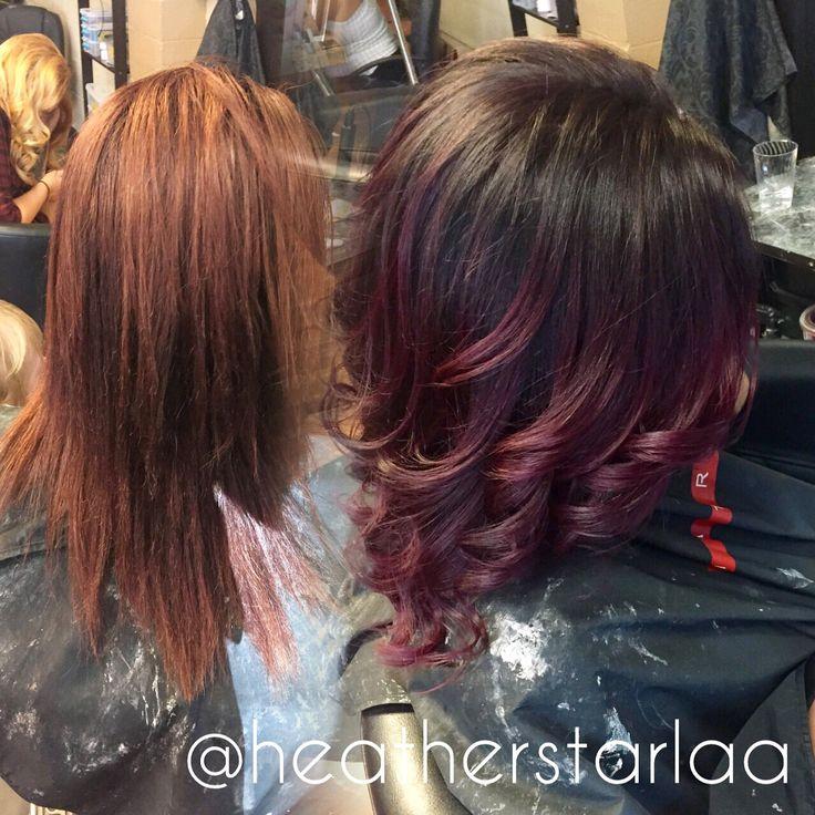 Dark brown to burgundy balayage ombre balayage ombre burgundy hair curled hair red violet - Ombre hair marron ...