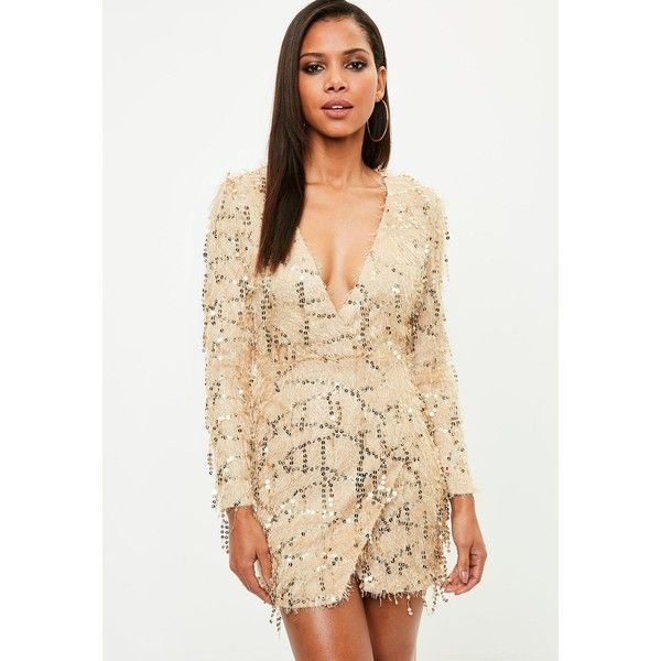 Gold Tassel Sequin Plunge Bodycon Dress ($100) ❤ liked on Polyvore featuring dresses, gold bodycon dress, bodycon cocktail dresses, sequin tassel dress, plunge bodycon dress and beige bodycon dress