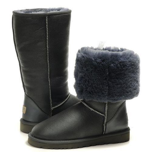 lacné Dámske UGG klasický Glitter ovčej kožušina vysoký obuv čižmy 5812 tmavý šedá