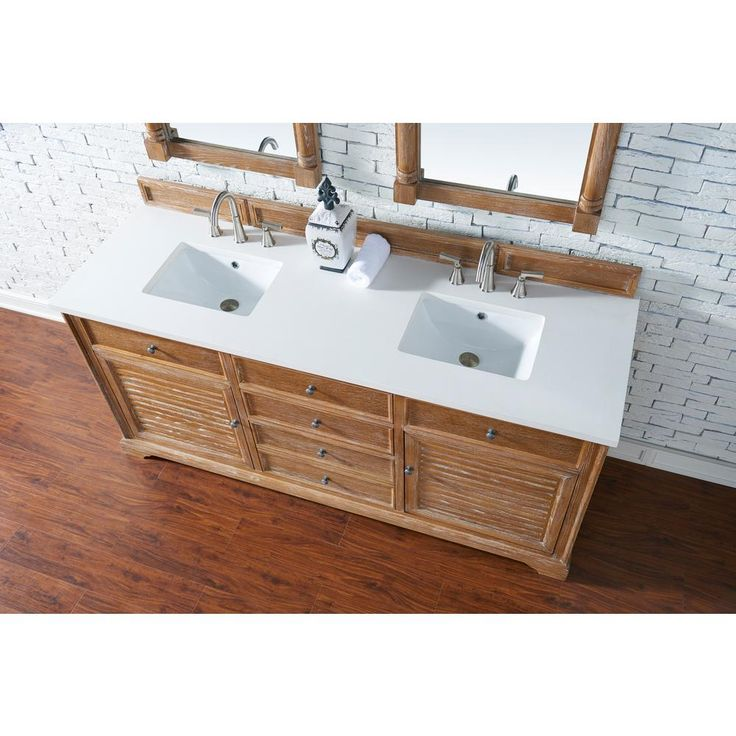 James Martin Signature Vanities Savannah 72 in. W Double Vanity in Driftwood with Quartz Vanity Top in White with White Basin
