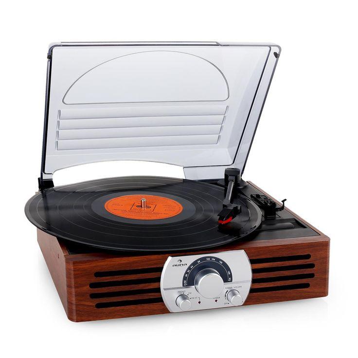 Auna TT-83N - Platine vinyle au style rétro avec radio FM (33 et 45 tours, antenne télescopique): Amazon.fr: High-tech