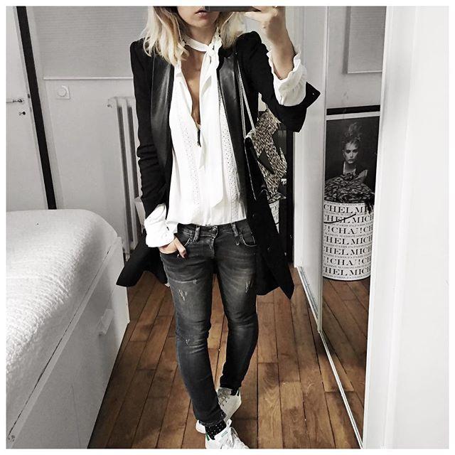 ⚫️⚪️ • Jacket #thekooples (from @labrandboutique) • Shirt #harpeparis (from @shopinsidecloset) • Jean #r13 (from @lagrandeboutiquelgb) • Socks #monoprix (old) • Bag #saintlaurent (from @vestiaireco) ...