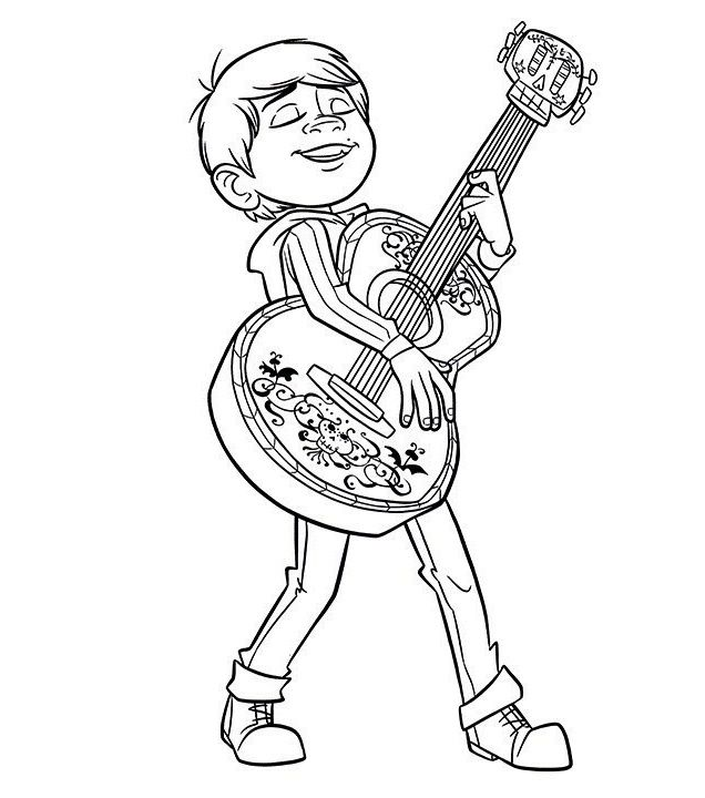 Miguel Coloring Coco Movie Coloring Sheet With Images Disney