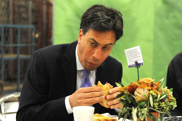 Good photo of politician - Ed Milliband - with awful policies   Ed Miliband, Labour Leader,  fails to look normal while eating bacon sandwich ahead of campaign tour - UK Politics - UK - The Independent