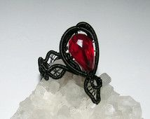 Underdark ring, verstelbare ring, Dark Elf ring, Drow ring, fantasie ring, ring van de draad, goth ring, zwarte ring, Cosplay juwelen, Elven juwelen