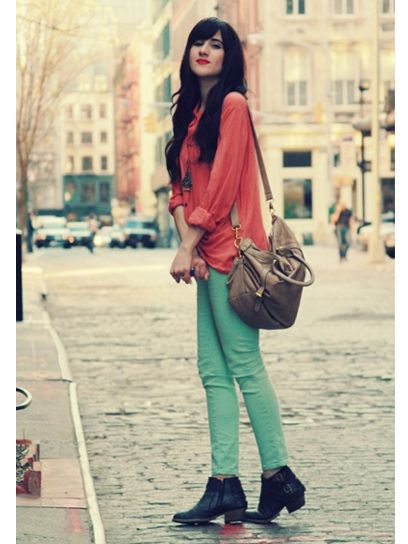 Style Tip: Pair an equally-bright button-up with colored jeans for a cool take on the color-blocking.