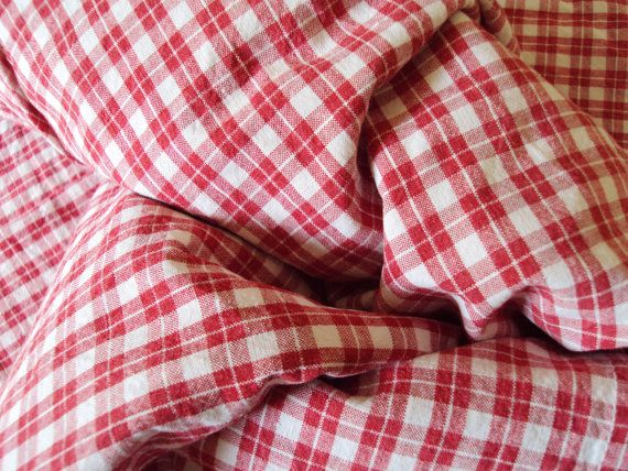 Antique French Fabric Red and White Check
