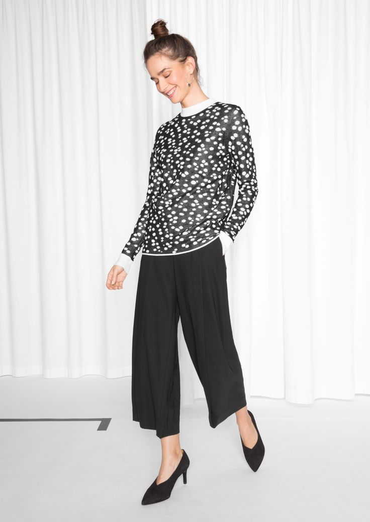 & Other Stories image 2 of Jacquard Silk Dot Knit in Black
