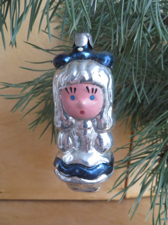 Glass girl with bow. Christmas Glass Ornament , Soviet Christmas tree Decorations, USSR glass toys, Vintage Christmas glass ornament