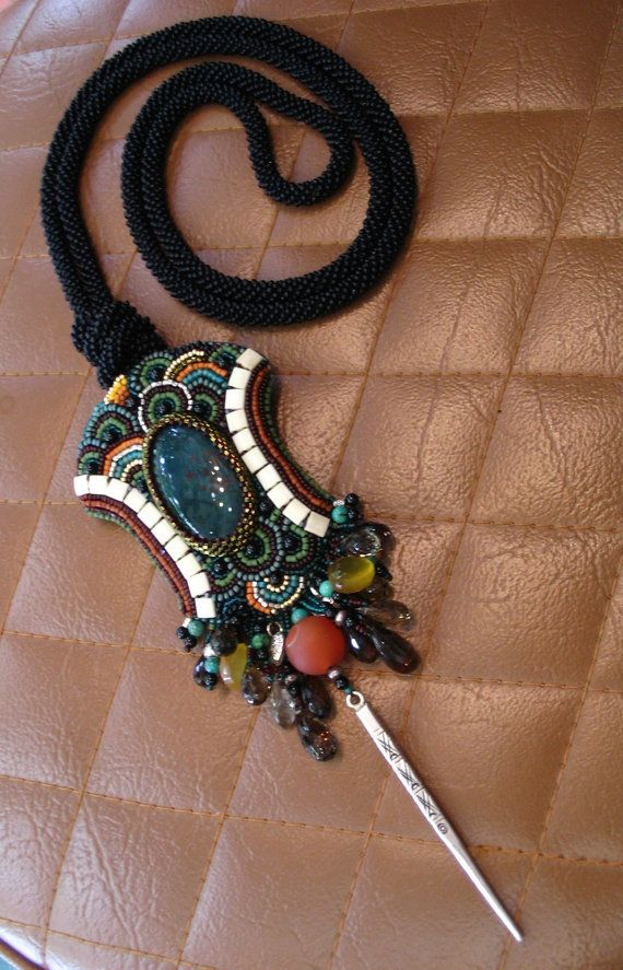 Chic+Bloodstone+bead+embroidery++Long+Necklace+by+ARTSTUDIO51,+$246.50