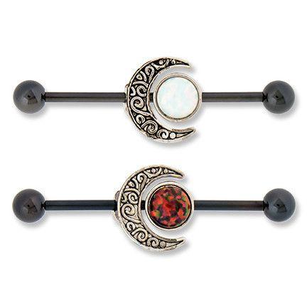 """14g Opal Moon Industrial Barbell #14g #14g-1-1/2"""" #14g-1-1/4"""""""