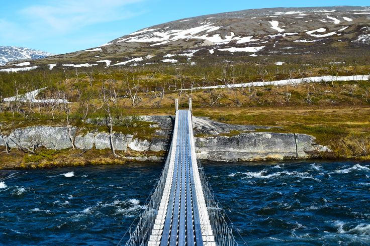 Bridge crossing Lønselva on Saltfjellet in Norway