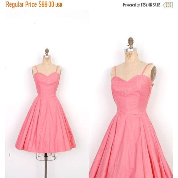 MEMORIAL WEEKEND SALE Vintage 1950s Dress 50s Rhinestone Cotton Party... ($70) ❤ liked on Polyvore featuring dresses, white rhinestone dress, pink dress, vintage pink dress, white day dress and white dress