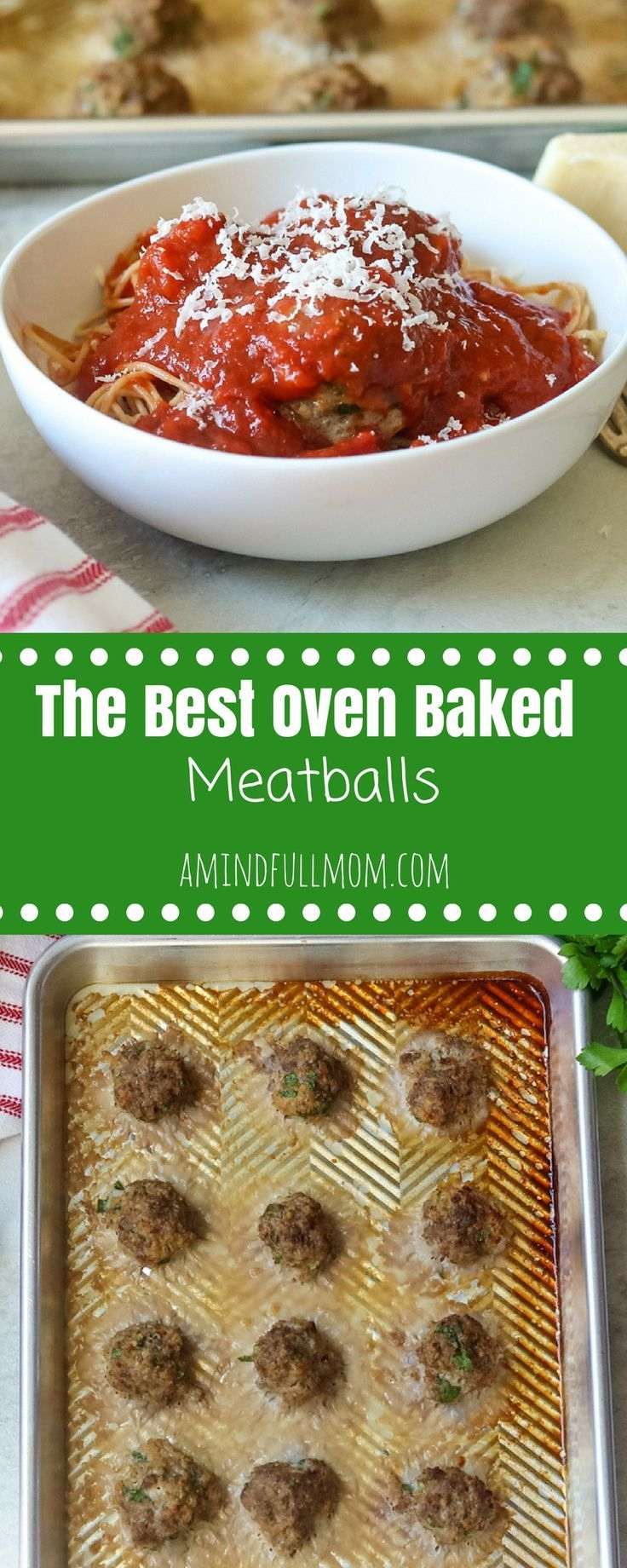 The World's Best Meatball Recipe: An authentic recipe for Italian style baked meatballs. There are a few tricks and tips in this recipe that will make making meatballs in the oven more delicous than any pan-fried meatball out there.#meatballs #italianrecipe  via @amindfullmom