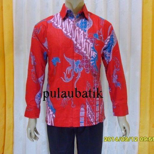 menyediakan seragam partai pdip dalam motif batik pria lengan panjang modern berwarna dasar merah elegan yang modern