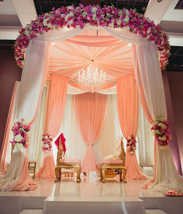 Round Indoor Canopy In Pink And White Is Unique Beautiful Inside Weddings