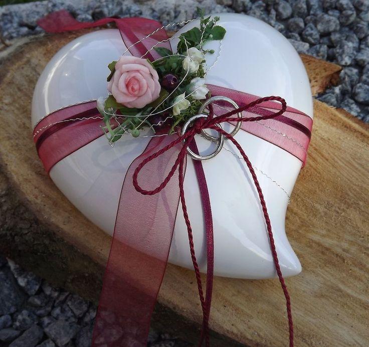 ... Ringhalter Keramik Herz weiß weinrot bordeaux Hochzeit für Eheringe