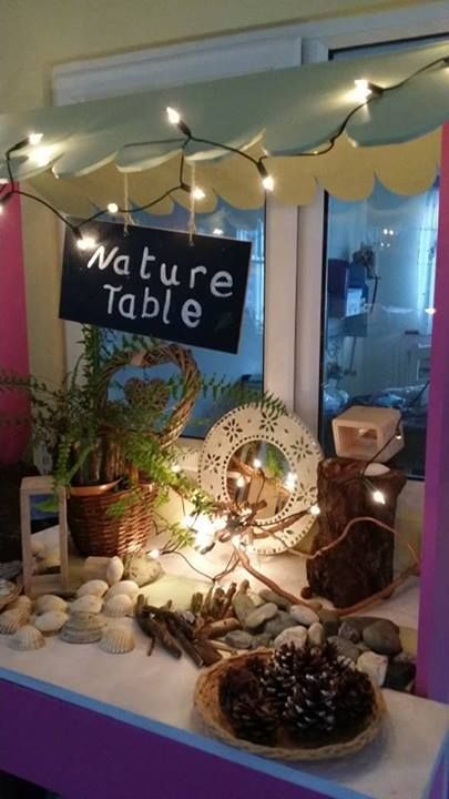 "Nature table at Kids Cottage Navan, image shared by let the children play ("",)"