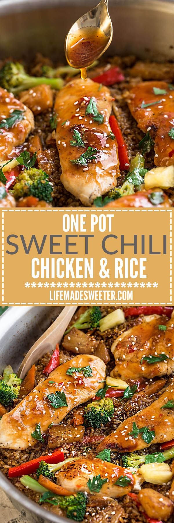 One Pot Sweet Chili Chicken makes the perfect easy weeknight meal. Best of all, takes just 30 minutes to make in entirely one pan with a delicious sweet and spicy sticky sauce over tender chicken and healthy vegetables!