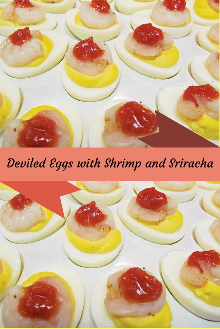 Creamy deviled eggs topped with a poached shrimp and a dab of sriracha. Such a great crowd pleaser!