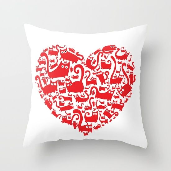 Cute red heart made from cats Throw Pillow
