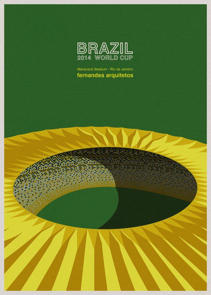 Ilustrações dos estádios da Copa no Mundo no Brasil, por André Chiote