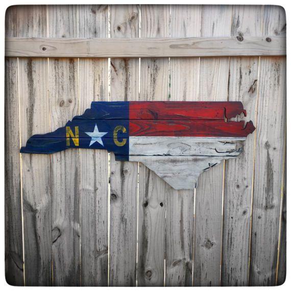 North Carolina Distressed Shape Wood Cutout  State Flag