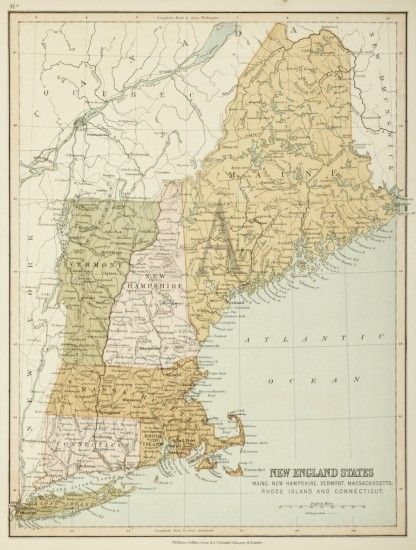 Map Of America Vermont.New England States Maine New Hampshire Vermont Massachuasetts