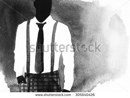 Fashion illustration. young man. abstract watercolor illustration - stock photo