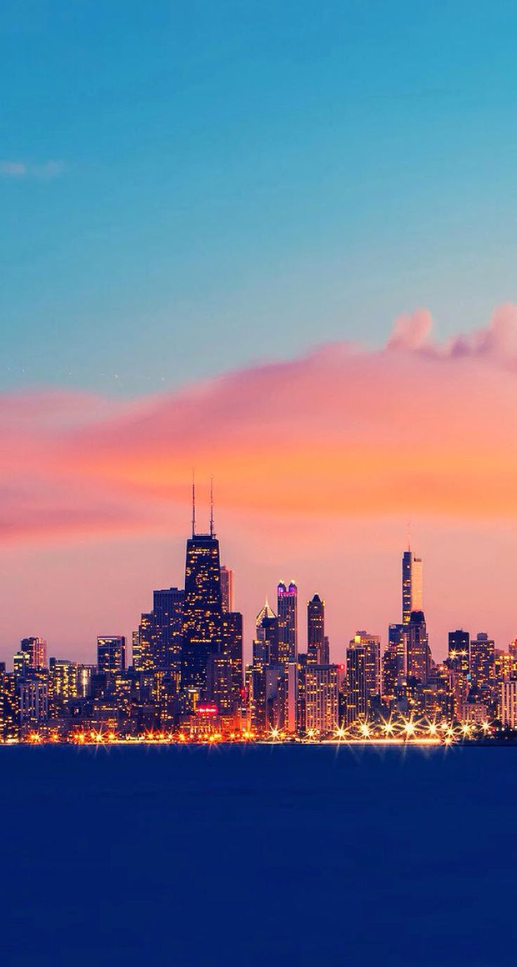Sunset. Chicago. Skyline. Wallpaper. iPhone.
