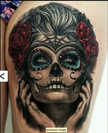Candy skull face tattoo tats pinterest colors the for Pretty skull tattoos