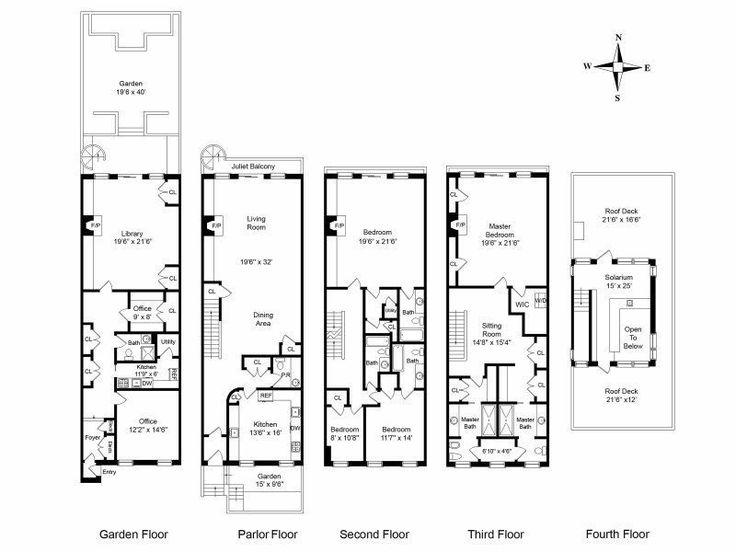 108 best townhouse floor plans images on pinterest floor for Brownstone townhouse plans