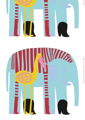 """Karkuteillä, Marimekko fabric.  """"An elephant, a zebra, and a pelican decided to flee the zoo and return to live in Africa.  But before they do a little shopping and bought beautiful boots."""""""