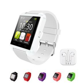 Relógio smartwatch esportivo e fone de ouvido.