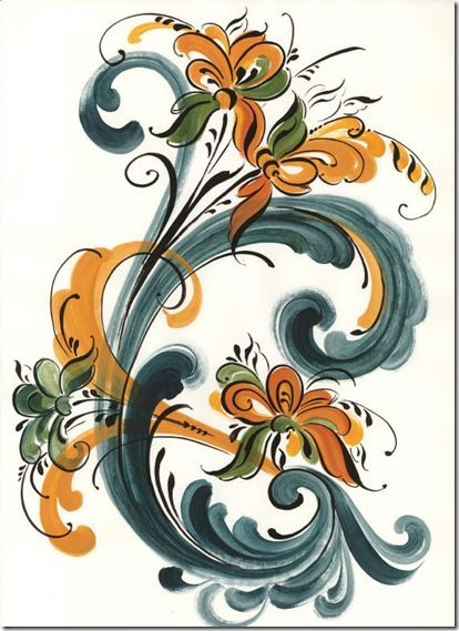 How to Do Rosemaling | These two are basically the same design, but with different colors.