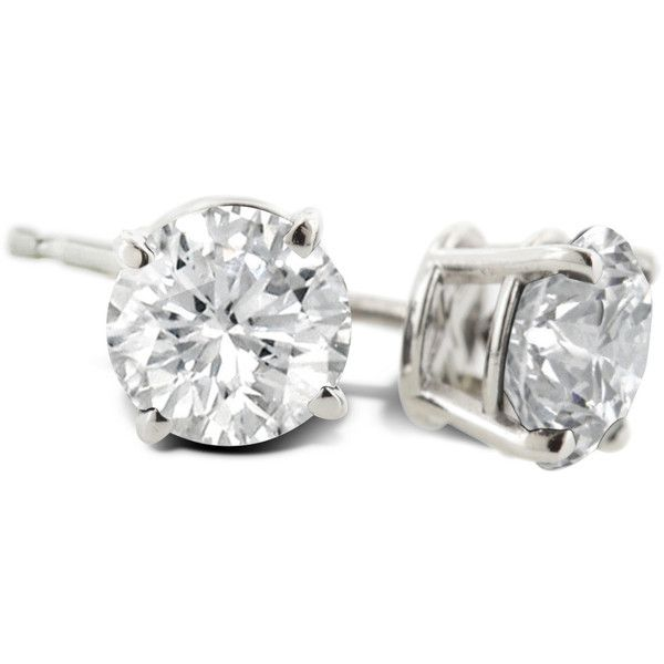 1 Carat Diamond Stud Earrings In Platinum ($1,003) ❤ liked on Polyvore featuring jewelry, earrings, platinum earrings, round earrings, screw back earrings, polish jewelry and diamond earrings