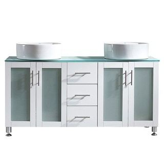 Vinnova Tuscany 60-inch White Double Vanity with White Vessel Sink and Glass Countertop - Free Shipping Today - Overstock.com - 17416596 - Mobile