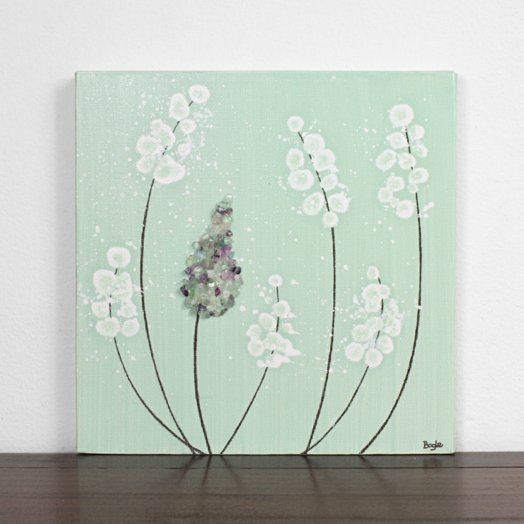 Original Painting On Canvas Mint Green Nursery Decor