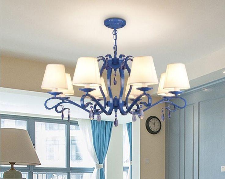 69.52$  Watch here - Pastoral style blue living room chandeliers. Bedroom lights. Restaurant lighting   #buyonlinewebsite