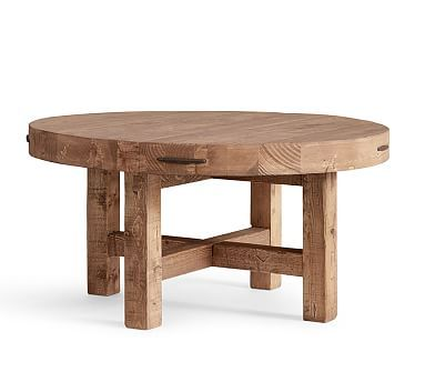 Pairing Steel With Reclaimed Pine, The Griffin Round Coffee Table Is A  Striking Centerpiece For Entertaining.