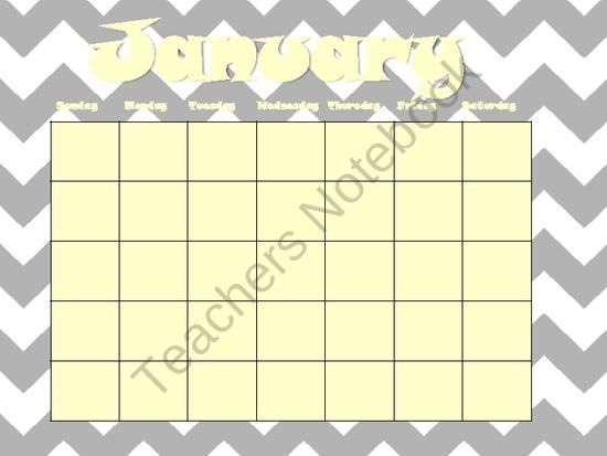 12 month calendars Days of the week Sunday-Saturday Month labels January-December Numbers 1-31 Year labels 2013-2017