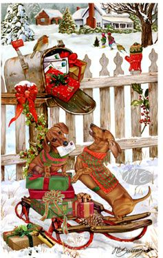 -Dachshund - Christmas Delivery (red)