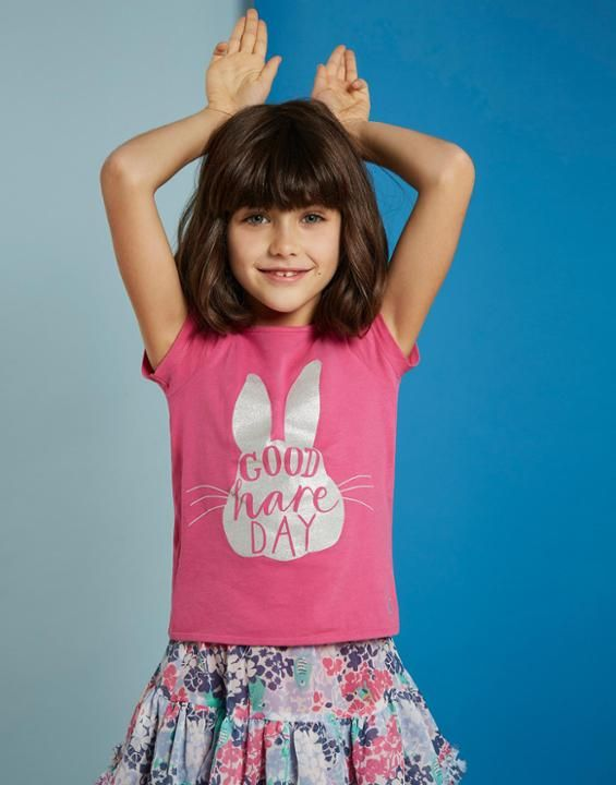 Joules Girls Official Peter Rabbit™ Movie Collection Jersey T shirt in Pink