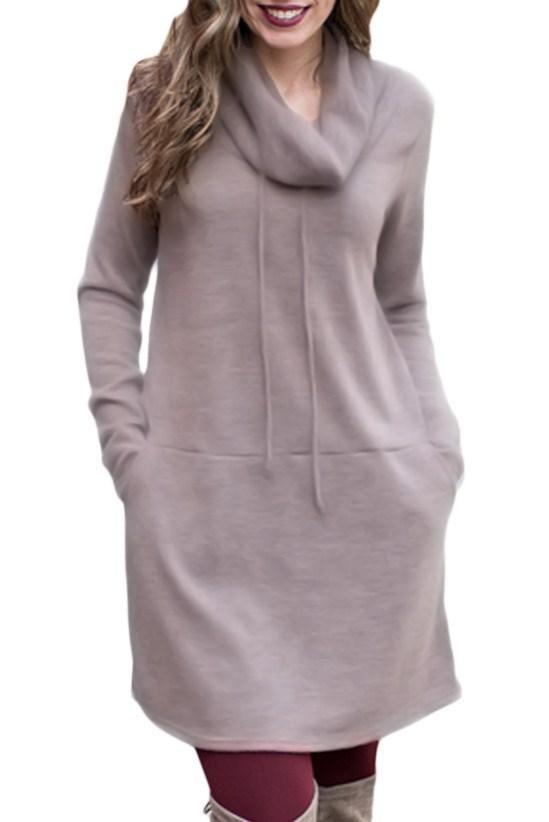 Brown Drawstring Cowl Neck Sweatshirt Dress modeshe.com